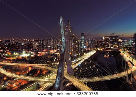 Aerial View Of Cable-stayed Bridge Decorated For Christmas And New Year Celebrations. Sao Paulo, Bra