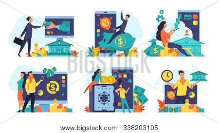 Online Banking Concept. Money Cashback And Transfer, Fintech Advertising And Digital Bank Transactio
