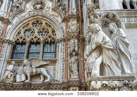 Doge`s Palace Or Palazzo Ducale, Venice, Italy. It Is A Famous Landmark Of Venice. Luxury Detail Of