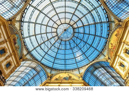 Milan, Italy - May 16, 2017: Glass Dome Inside The Galleria Vittorio Emanuele Ii In Milan. This Gall
