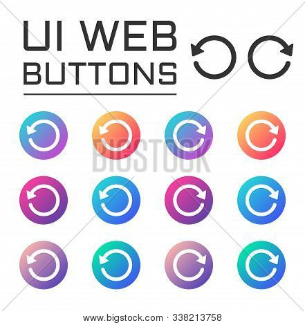 Undo Redo Arrows Ui Web Button. Vector Icons On Trendy Gradients For Web, Mobile And User Interface