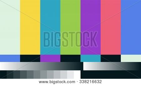 Fake Abstract No Signal Tv Retro Television Test Pattern For Creative Work. Color Rgb Bars Vector Il