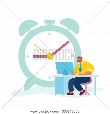 Hard Working Businessman Time Or Working Process Concept. Tiny Male Character Sitting At Office Desk