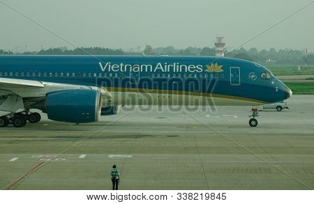 Saigon, Vietnam - May 22, 2019. Vn-a890 Vietnam Airlines Airbus A350-900 Taxiing On Runway Of Tan So