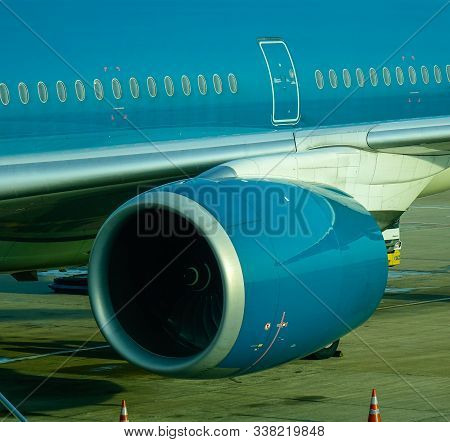 Saigon, Vietnam - May 22, 2019. Rolls-royce Trent Xwb Turbojet Engine Of Vietnam Airlines Airbus A35