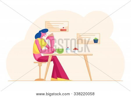 Young Woman Drinking Tea Or Coffee With Cake In Modern Restaurant. Female Character Visiting Bakehou