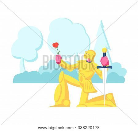 Knight In Gold Sparkling Armor Stand On Knee With Sword And Rose Flower Giving Oath Or Love Confessi