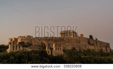 The Parthenon , Propylaea, Acropolis With Herodes Theater In The Foreground