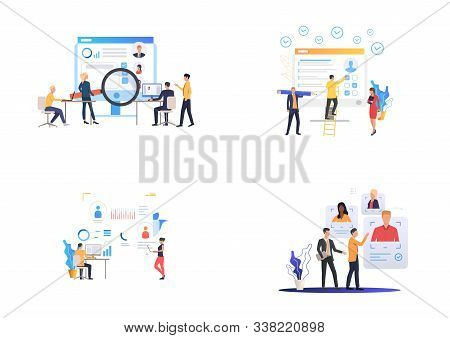 Recruiting Agency Set. Hr Professionals Analyzing Candidates Profiles. Flat Vector Illustrations. Bu