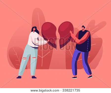 Heartbroken Couple Parting, Divorce. Sad Young Man And Woman Trying To Put Together Parts Of Broken