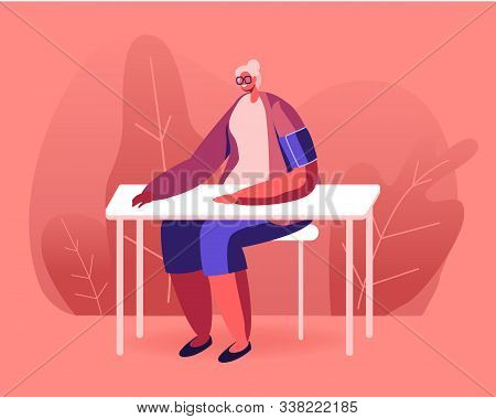 Senior Woman With Tonometer Cuff On Shoulder Measuring Arterial Blood Pressure Sitting At Table. Hyp