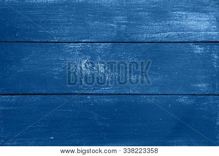 Dark Blue Vintage Grunge Old Painted Wooden Plank Background Texture With Stains And Brushed Faded W