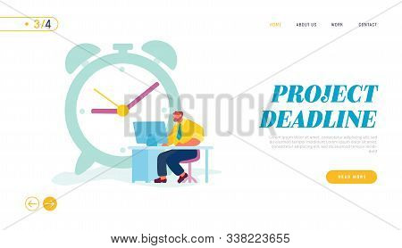 Businessman Working Process Website Landing Page. Character Sitting At Office Desk Working On Comput