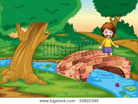 Illustration of a gril crying ona  bridge - EPS VECTOR format also available in my portfolio.