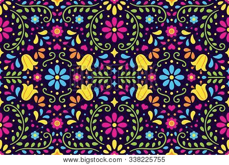 Traditional Mexican Floral Seamless Pattern. Colorful Ethnic Ornament In Folk Embroidery Style. Vect