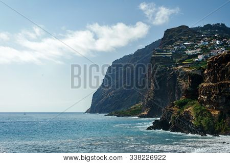 View Of Beautiful Mountains And Atlantic Ocean Coast Near Camara De Lobos, Madeira Island, Portugal