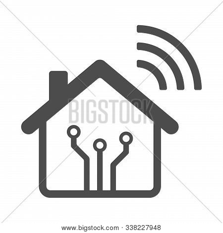 Smart Home Vector Icon With Airwaves Isolated On White Background. Smart Home Automation Control Sys