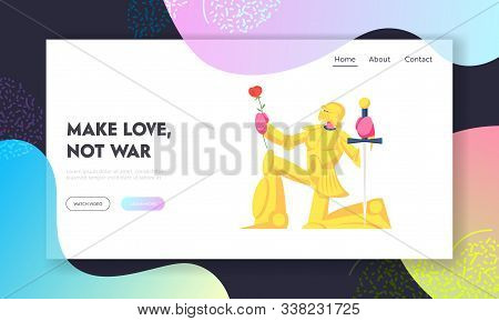 Historical Or Fairy Tale Scene, Website Landing Page. Knight In Gold Sparkling Armor Stand On Knee W