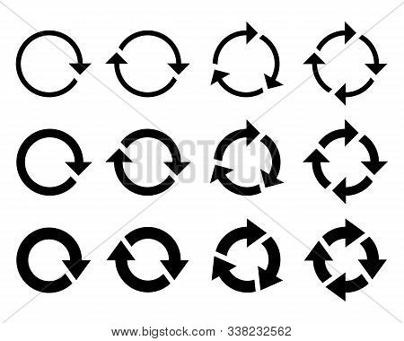 Round Arrows Graphic Signs Set. Refresh And Reload Arrows Icons. Rotation Vector Arrows Set. Vector