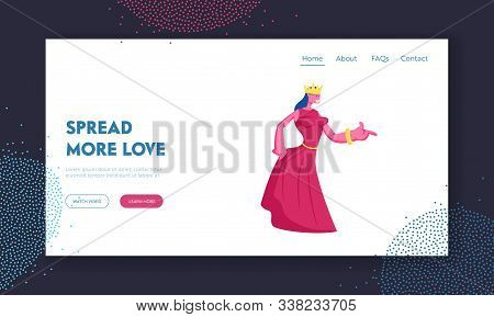 Medieval Royal Person Website Landing Page. Princess Or Queen In Red Dress With Crown On Head. Femal
