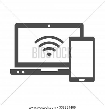 Smart Devices Vector Icon Isolated On White Background. Laptop And Smartphone Wireless Connection Ic