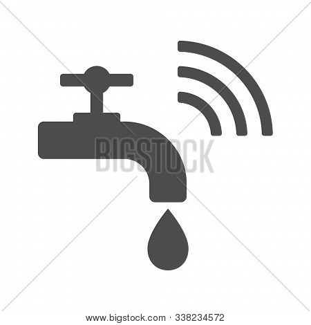 Smart Water Tap Vector Icon Isolated On White Background. Smart Water Crane With Airwaves Icon For W