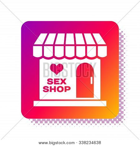 White Sex Shop Building With Striped Awning Icon Isolated On White Background. Sex Shop, Online Sex