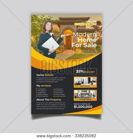 Blue Flyer Template Layout Design. Corporate Business Flyer, Brochure, Annual Report, Catalog, Magazine Mockup. Creative Modern Bright Flyer Concept with Square Shapes
