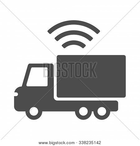 Smart Truck Vector Icon Isolated On White Background. Smart Truck With Airwaves Icon For Web, Mobile