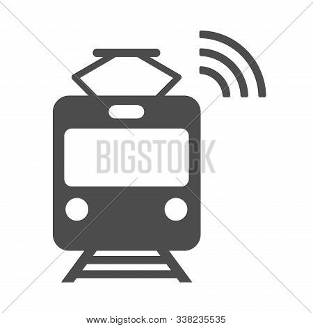 Smart Tram Vector Icon Isolated On White Background. Smart Tram With Airwaves Icon For Web, Mobile A