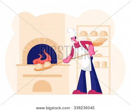 Young Man Baker Wearing White Apron And Toque Put Raw Bread For Baking In Burning Oven On Restaurant