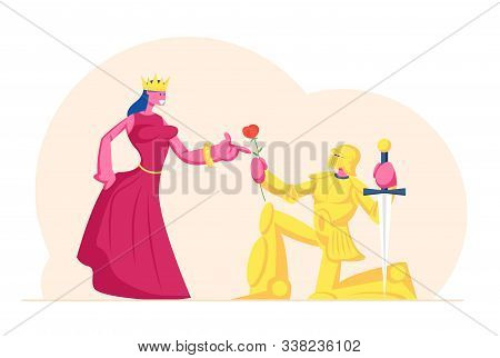 Knight In Gold Sparkling Armor Stand On Knee With Sword Oath Giving To Queen Or Princess Wearing Cro