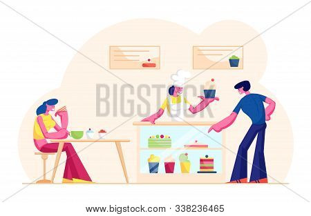 People Visiting Cafe Or Bakehouse. Saleswoman In Cap And Apron Stand At Desk With Pastry Giving Cake
