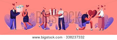 Young Man Giving Present To Happy Surprised Woman On Valentines Day Or Birthday. Human Relations, Lo