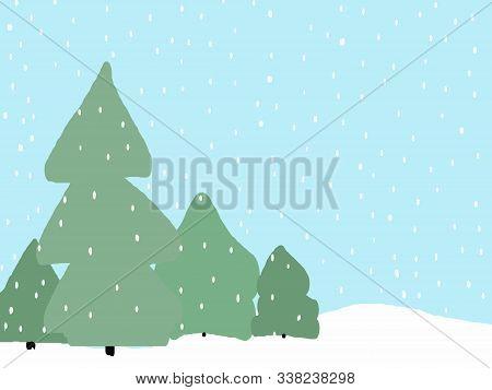 Trees Snowfall Scenery . Abstract Art Of Nature In Winter. Original Clip Art Illustration.
