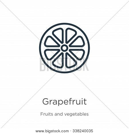 Grapefruit Icon. Thin Linear Grapefruit Outline Icon Isolated On White Background From Fruits And Ve
