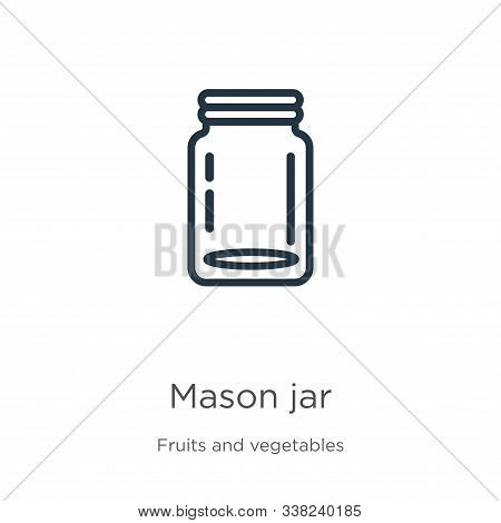 Mason Jar Icon. Thin Linear Mason Jar Outline Icon Isolated On White Background From Fruits And Vege