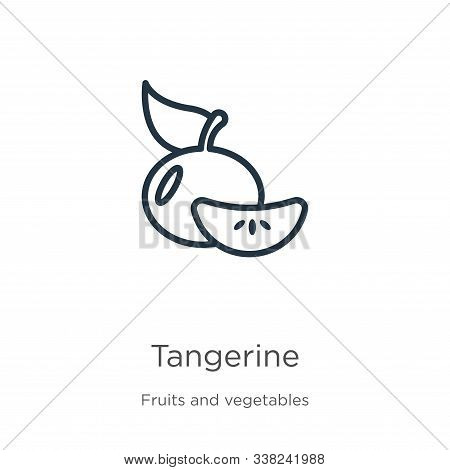 Tangerine Icon. Thin Linear Tangerine Outline Icon Isolated On White Background From Fruits Collecti
