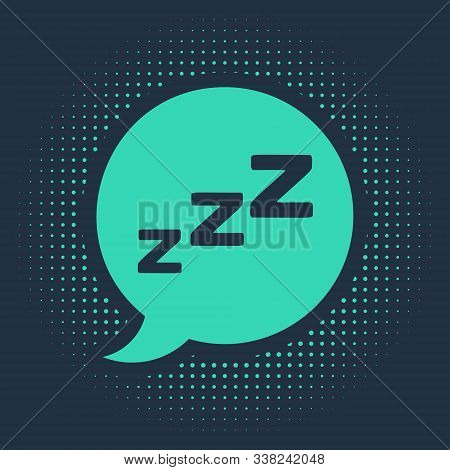 Green Speech Bubble With Snoring Icon Isolated On Blue Background. Concept Of Sleeping, Insomnia, Al