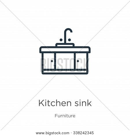 Kitchen Sink Icon. Thin Linear Kitchen Sink Outline Icon Isolated On White Background From Furniture