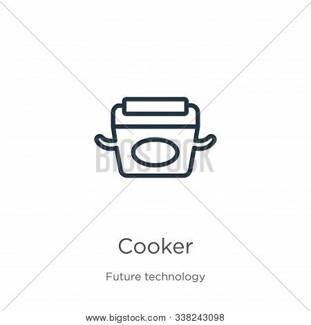 Cooker Icon. Thin Linear Cooker Outline Icon Isolated On White Background From Future Technology Col