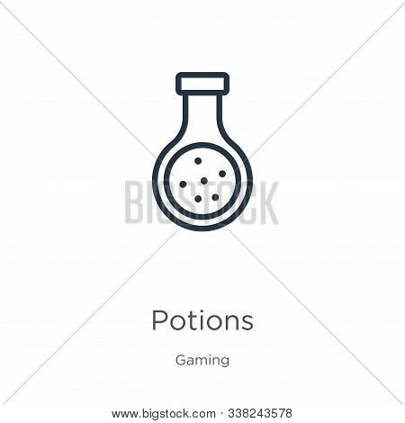 Potions Icon. Thin Linear Potions Outline Icon Isolated On White Background From Gaming Collection.