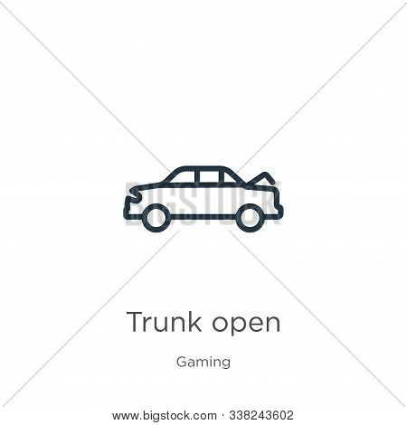 Trunk Open Icon. Thin Linear Trunk Open Outline Icon Isolated On White Background From Gaming Collec