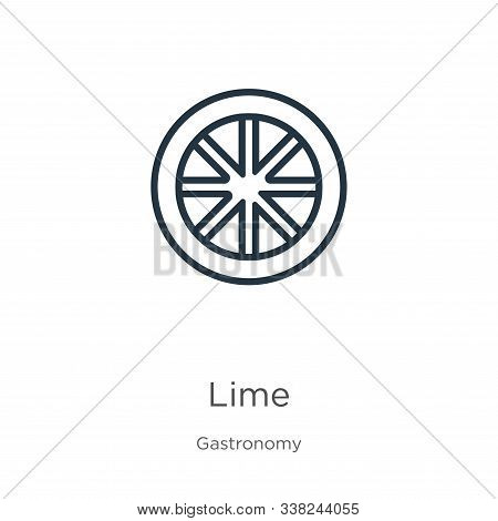 Lime Icon. Thin Linear Lime Outline Icon Isolated On White Background From Gastronomy Collection. Li