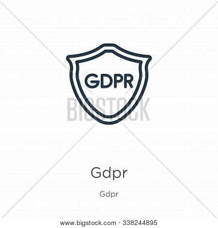 Gdpr Icon. Thin Linear Gdpr Outline Icon Isolated On White Background From Gdpr Collection. Line Vec