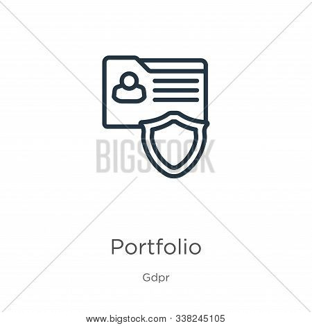 Portfolio Icon. Thin Linear Portfolio Outline Icon Isolated On White Background From Gdpr Collection
