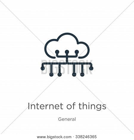 Internet Of Things Icon. Thin Linear Internet Of Things Outline Icon Isolated On White Background Fr