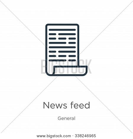 News Feed Icon. Thin Linear News Feed Outline Icon Isolated On White Background From General Collect