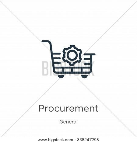 Procurement Icon. Thin Linear Procurement Outline Icon Isolated On White Background From General Col