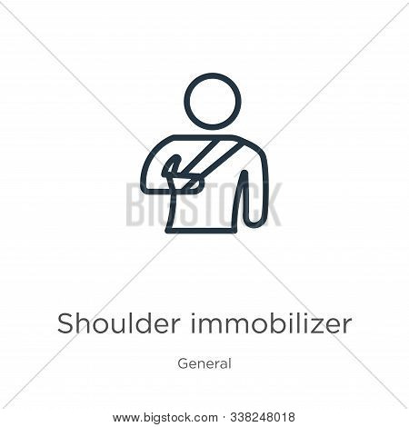 Shoulder Immobilizer Icon. Thin Linear Shoulder Immobilizer Outline Icon Isolated On White Backgroun